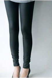Matte PU Skinny Leggings with Ruched Cuffs - Trousers/Leggings