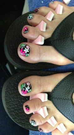 Black pedicure with bright pink/fuchsia and bright kelly green floral designs flowers Free Hand Nail Art Cute Toe Nails, Cute Nail Art, Fancy Nails, Love Nails, My Nails, Pedicure Nail Art, Pedicure Designs, Toe Nail Designs, Black Pedicure