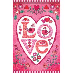 Love Heart Pink Glitter Trends Double Sided Garden Flag: Flagsrus.org