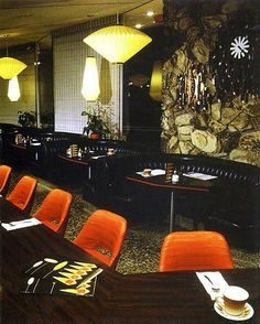 """Norm's Restaurant space age interior during the 60s & 70s.  (Good Example of Banquette and lighting)"