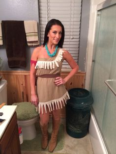 Easy no sew diy pocahontas or native american indian costume full diy pocahontas halloween costume cut sewn two oversized mens shirts from the goodwill solutioingenieria Choice Image