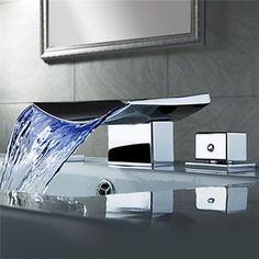 Beautiful Waterfall Widespread Bathroom Bath Sink Mixer Tap Faucet In Chrome