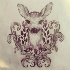 Drawings to try Kunst Tattoos, Neue Tattoos, Body Art Tattoos, Thigh Tattoos, Tattoo Sketches, Tattoo Drawings, Art Sketches, Hirsch Tattoos, Doe Tattoo