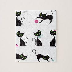 Kittens black on white jigsaw puzzle - cat cats kitten kitty pet love pussy