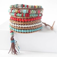 ──────────────────────────────────────────────── ► Turquoise & Red Wrap with Tassel◄ ──────────────────────────────────────────────── Give as a gift or wrap yourself in this gorgeous southwestern inspired leather wrap bracelet! As with all of our beaded wrap bracelets for women, the