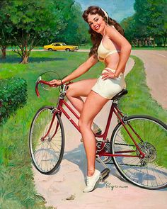 Super Sweet 50's feel bike illustration, expect no one is smiling....