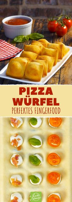Press pizza dough into an ice cube pan and bake it.- Presse Pizzateig in eine Eiswürfelform und backe ihn. Press pizza dough into an ice cube pan and bake it. Snacks Pizza, Snacks Für Party, Pizza Recipes, Brunch Recipes, Appetizer Recipes, Party Finger Foods, Finger Food Appetizers, Pizza Dough, Pizza Pizza