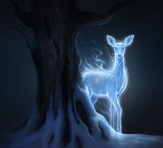 Patronus illustration of the Silver Doe in the forest - Snape's patronus (from Pottermore)