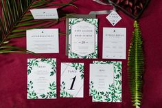 Geometric Greenery Wedding Invitations - Botanical Invitation - Traditional Leaves Marriage Ceremony Invites, Custom - Silver Metallic Gold Affordable custom invitations by Ivory Isle Designs Wedding Invitation Samples, Custom Invitations, Invites, Colored Envelopes, Custom Fonts, Envelope Liners, Foil Stamping, Response Cards, As You Like