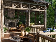 Mountain House | William T. Baker | bark railing,  branches,  covered porch,  Hydrangea,  mountain house,  outdoor fireplace,  rustic  rustic porch,  seating area,  stone  timbers,  zebra rug
