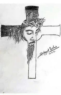 jesus drawings pencil drawing cross christ sketch sketches cartoon face easy cool easter drawingwow laughing painter