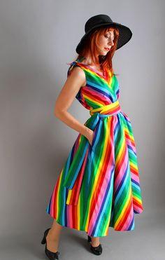 Romantic Handmade Cotton Chevron Rainbow Dress. Day Dress. Designer Dress. Alternative Wedding. Bridesmaid