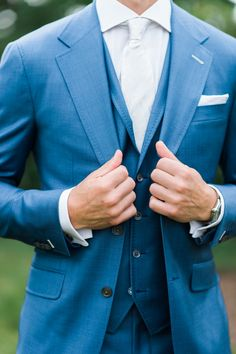 Admiral blue 3 piece sharkskin suit by Daniel George