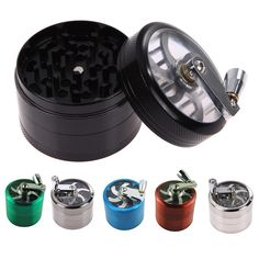 US Warehouse 4 Layers Herb Tobacco Spice Weeds Grass Aluminium Grinder Smoke Crusher Hand Crank Muller Mill Smoking Pollinator