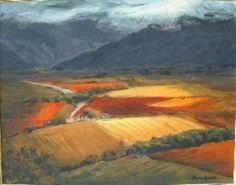 """Autumn Vineyards, De Doorns"" Pastel Art, African Beauty, Autumn Inspiration, Landscape Paintings, South Africa, Vineyard, Art Ideas, Awesome, Places"