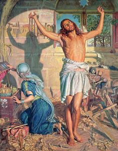 Painting, William Holman Hunt The Shadow Of Death Leeds Art Gallery Online. Leeds Art Gallery, Online Art Gallery, Christian Images, Christian Art, Surrealist Collage, Salvator Mundi, Jesus Painting, Beauty In Art, Victorian Art