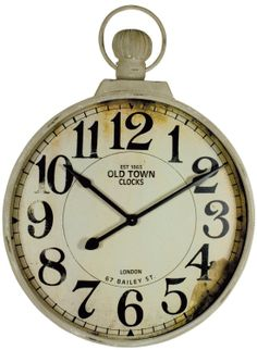 "Giant Fob Watch Wall Clock Height: 40"" - 101cm Width: 29"" - 74cm Clock Face: 27"" - 69cm"