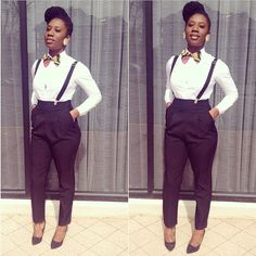 High waisted pants with suspenders and bowtie