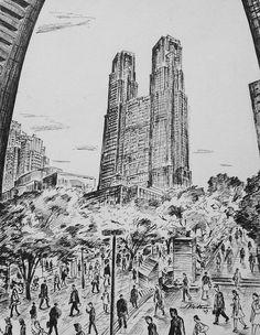 Artist - Itsuo Kiritani   Title - Metropolitan Government Building, Shinjuku (東京都庁、新宿)   Dimensions - (30.6cm x 24.1cm) Year - 2007  Media - Pen and Ink on Paper   Exhibition - ANA InterContinental Tokyo  Nov. 9, 2015 - Feb. 9, 2016     Inquiry