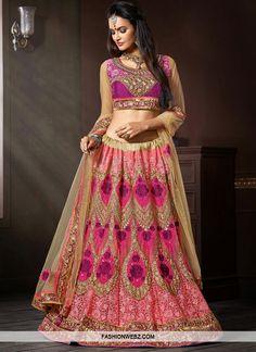 Mesmerizing Salmon Color Net Bridal Lehenga Choli