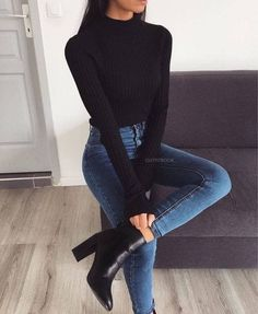 10 elegant outfits with perfect jeans to go to work - Woman of Real guide for today& woman. - 10 elegant outfits with perfect jeans to go to work – Woman of 10 Best Picture For outfits for w - Black Women Fashion, Look Fashion, Autumn Fashion, Womens Fashion, Fashion Clothes, Fashion Boots, Trendy Fashion, Affordable Fashion, Fashion Dresses