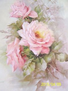 CHINA-PAINTING-STUDY-SONIE-AMES-35-PINK-ROSES-WHITE-DAISY-5-PAGES-1969