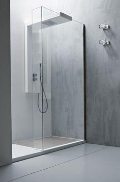 *modern bathroom design, minimalism, white, concrete and glass* - Sleek white and grey bathroom, Argo Vela shower column by Italian brand Rexa Design