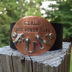 Girls Just Wanna Have Fun Copper Hand-stamped Leather Cuff on Etsy, $39.00