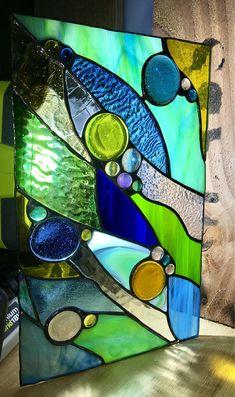 Custom Abstract Handmade Stained Glass Panel Sun Catcher