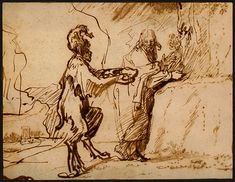 Satan Tempting Christ to Change Stones into Bread, 1640 by Rembrandt. Baroque. sketch and study