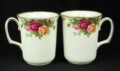 2 Royal Albert Old Country Roses Beaker Coffee Mugs 1st Quality