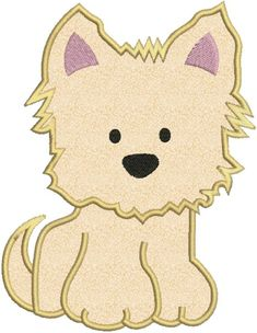 Yorkie Puppy Dog Applique Machine by embroiderydesignsavi on Etsy, $3.00