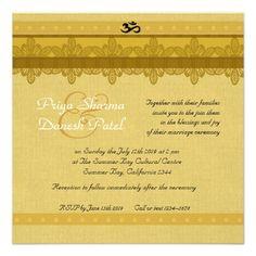 Gold Damask Brocade Hindu Wedding Personalized Invitations Indian