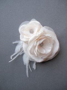 STACY Bridal Hair Piece Wedding Hair Flowers Bridal Headpiece Feather Fascinator by percyhandmade