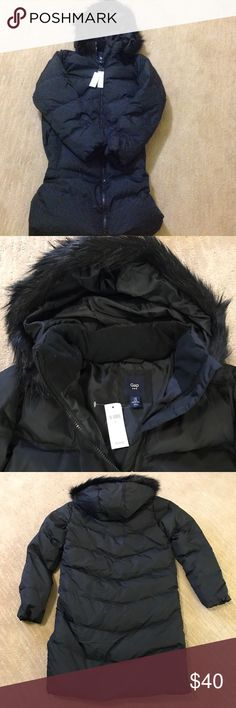 New with tags black Gap down puffer coat. Brand new down puffer coat with a faux fur trimmed hood. Knee length with a front zipper GAP Jackets & Coats Puffers