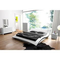 Riley White Faux Leather Contemporary Bed Furniture Outlet Online S Luxury