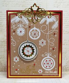 Elegant Christmas Swirls Clear Stamps and Ornament Cling Background Stamp - Joy to the World Card - JustRite Papercraft Day Four June Release