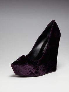Theyskens' Theory purple velvet wedges.