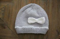 Tuto pour bonnet tricot en taille 3-6 mois.