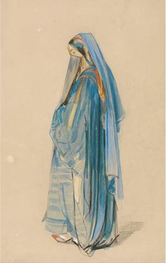 """A Young Turkish Woman"""" by John Frederick Lewis (drawing and watercolour)"""
