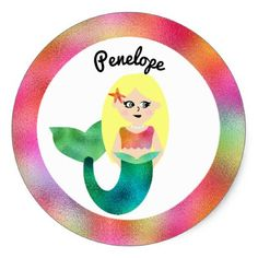 #name - #Girls Personalized Blonde Faux Foil Mermaid Pink Classic Round Sticker