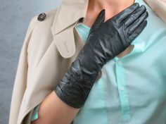 Genuine Leather Gloves -  12.5 inches Long Black Pleated- Sheepskin - Women - Winter Fall - Handmade - Free Shipping. $20.98, via Etsy.