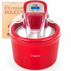 Savisto Ltr Homemade Ice Cream Maker With Digital Display in Red Homemade Ice Cream Maker, Sale Of The Day, Smoothie, Electric, Dessert, Kitchenware, Kitchen Appliances, Display, Digital