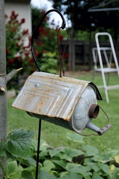 Wow...great up-cycled bird house! This is great antique can can be found in local antique stores, flea markets! (33) Facebook