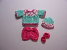 Handmade knitted outfit for miniature baby doll #RB317