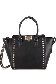Black Handbag & Crossbody Bag with Rivet