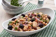 salata-de-fasole-boabe-cu-naut-si-masline Healthy Salad Recipes, Fruit Salad, Vegan Vegetarian, Potato Salad, Food And Drink, Low Carb, Cooking Recipes, Meals, Vegetables