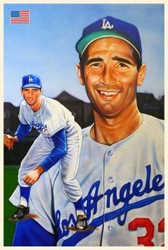 Sandy Koufax Dodgers original artwork by Mike Gardner 21 x 25 inches Dodgers Nation, Dodgers Fan, Dodgers Baseball, Baseball Art, Baseball Players, Baseball Stuff, Sandy Koufax, No Crying In Baseball, Diamonds In The Sky
