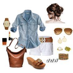 Denim shirt, white shorts & camel accessories <3