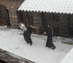 Snowball fight on Mount Athos. They have snow in Greece?
